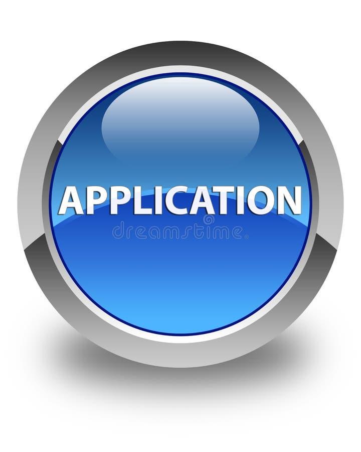 Botão redondo azul lustroso da aplicação ilustração royalty free