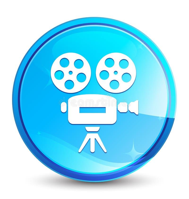 Botão redondo azul natural do respingo do ícone da câmara de vídeo ilustração stock