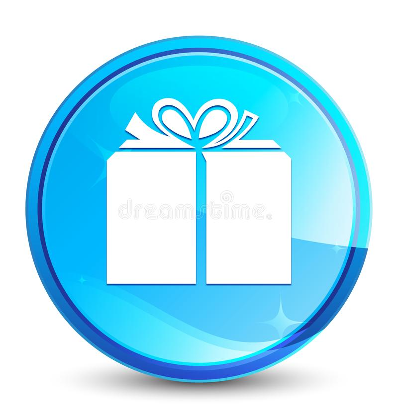 Botão redondo azul natural do respingo do ícone da caixa de presente ilustração royalty free
