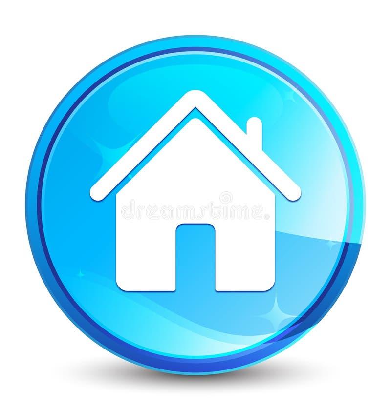 Botão redondo azul natural do respingo do ícone da casa ilustração stock
