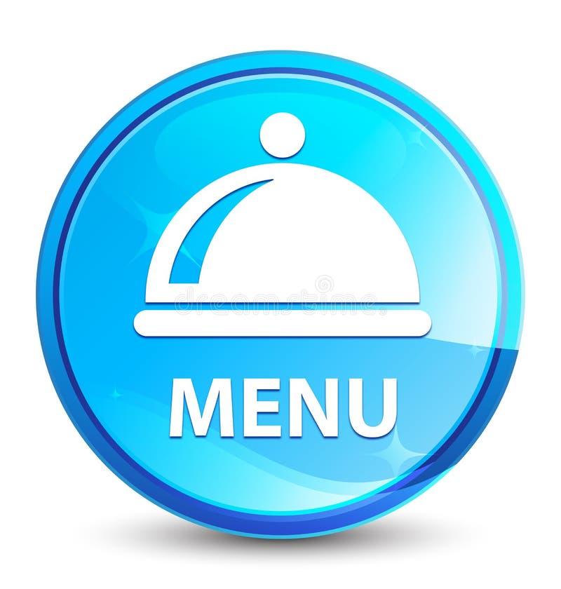 Botão redondo azul natural do respingo do menu (ícone do prato do alimento) ilustração do vetor