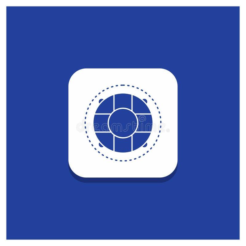 Botão redondo azul para a ajuda, vida, boia salva-vidas, salva-vidas, ícone do Glyph do conservante ilustração royalty free