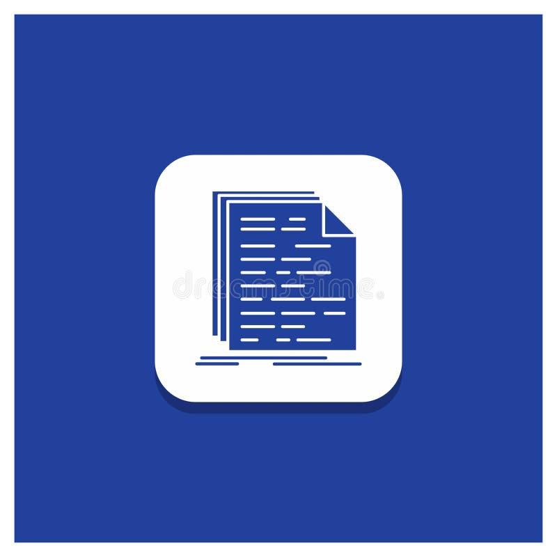 Botão redondo azul para o código, codificação, doc, programando, ícone do Glyph do roteiro ilustração royalty free