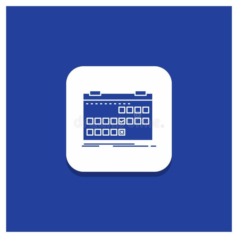 Botão redondo azul para o calendário, data, evento, liberação, ícone do Glyph da programação ilustração royalty free