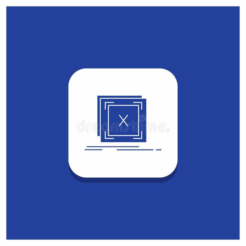 Botão redondo azul para o erro, aplicação, mensagem, problema, ícone do Glyph do servidor ilustração stock