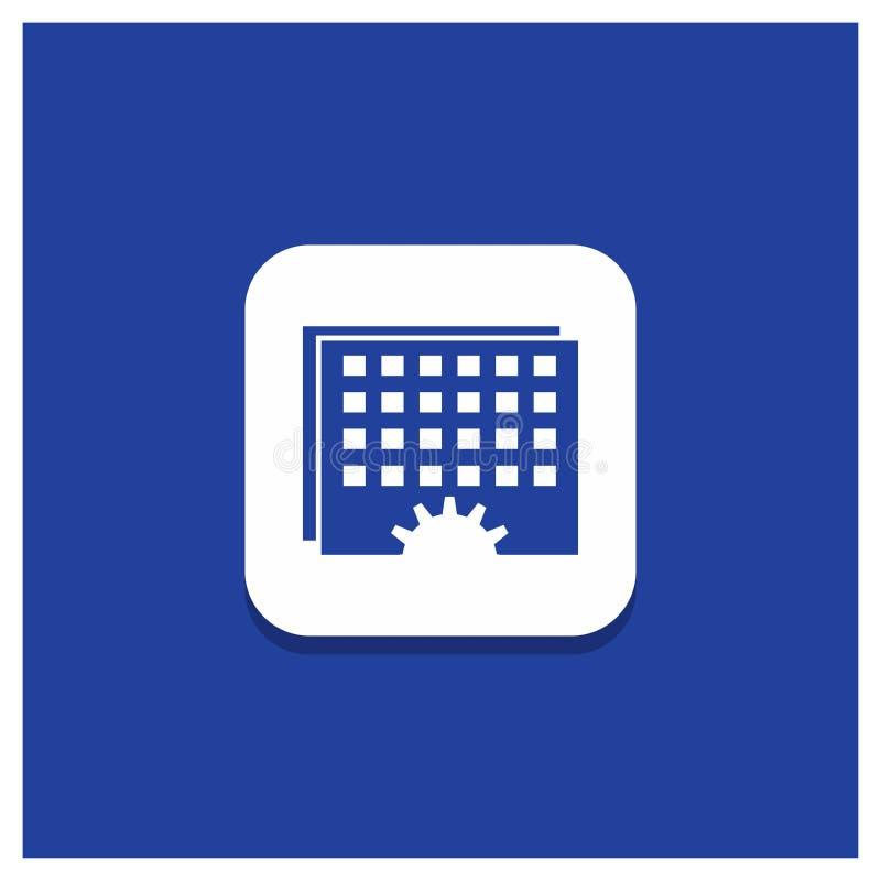Botão redondo azul para o evento, gestão, processando, programação, ícone do Glyph do sincronismo ilustração royalty free
