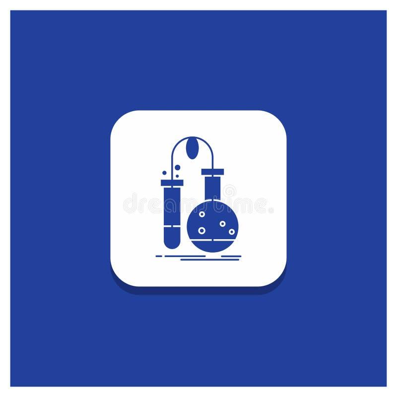 Botão redondo azul para testar, química, garrafa, laboratório, ícone do Glyph da ciência ilustração stock