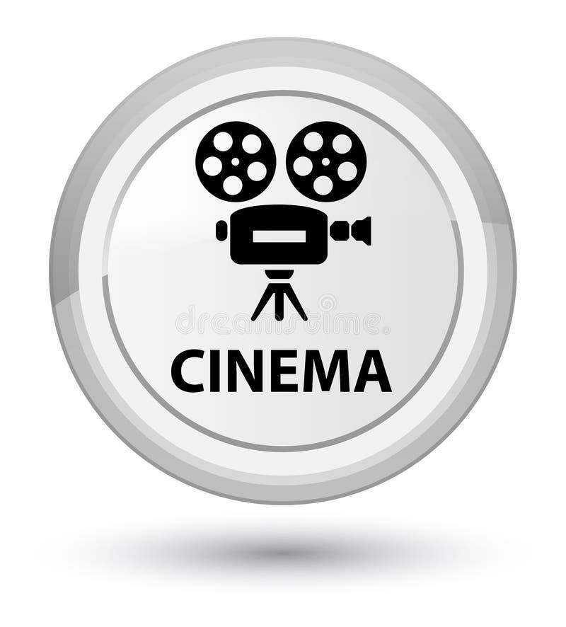 Botão redondo branco da prima do cinema (ícone da câmara de vídeo) ilustração royalty free
