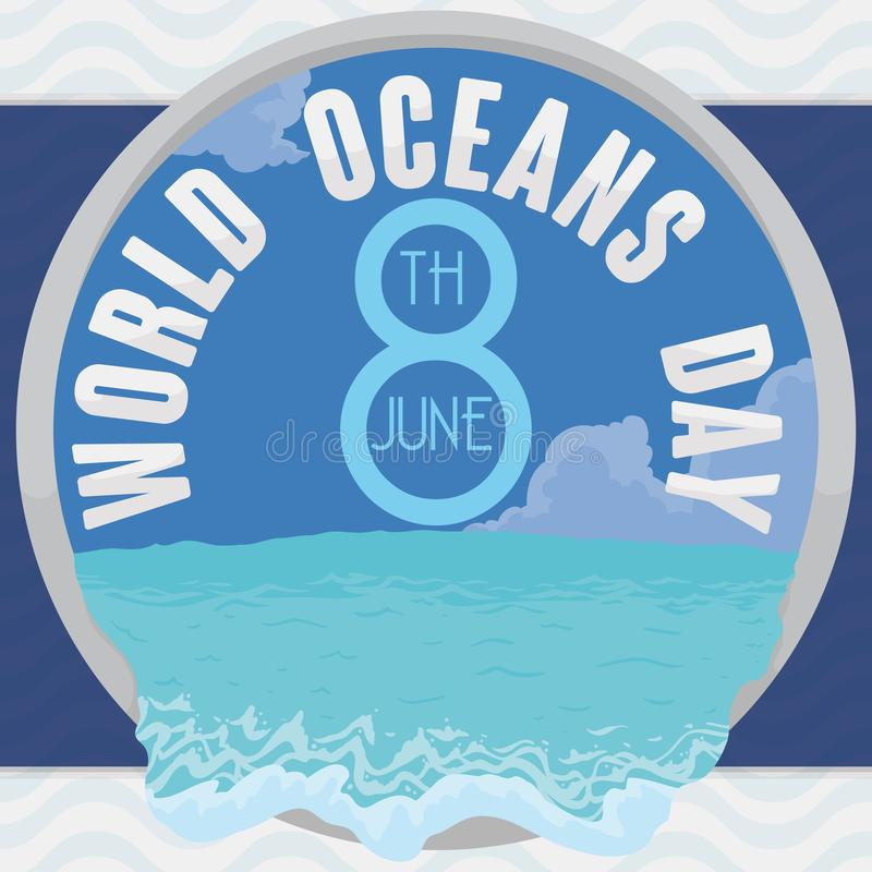 Botão redondo com Marine Scenic View para o dia do oceano do mundo, ilustração do vetor ilustração stock