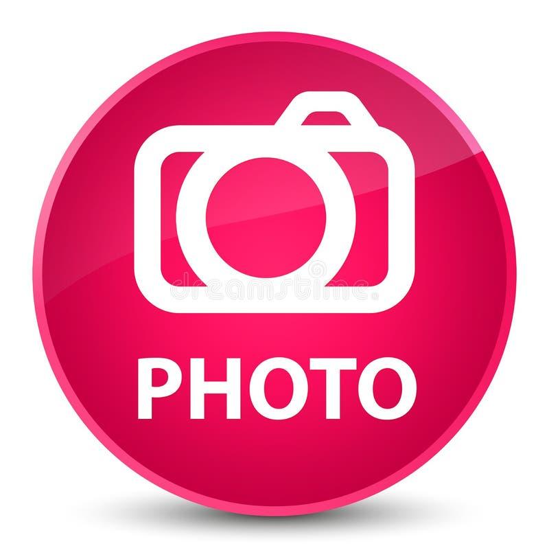 Botão redondo cor-de-rosa elegante da foto (ícone da câmera) ilustração royalty free