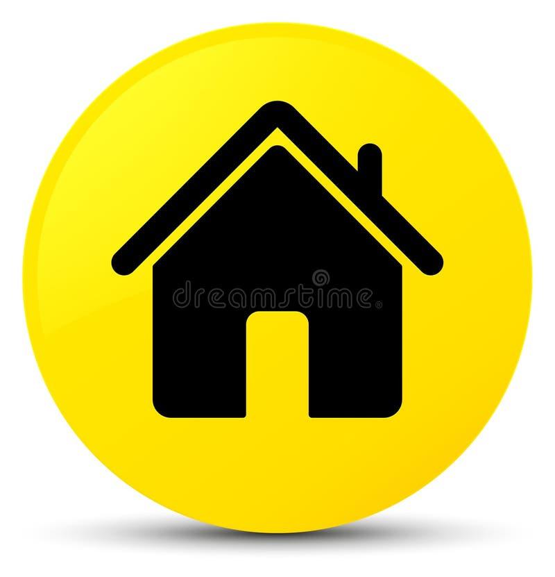 Botão redondo do amarelo home do ícone ilustração royalty free