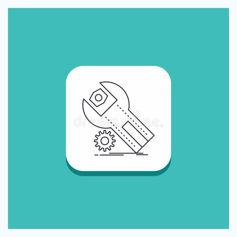 Botão redondo para ajustes, App, a instalação, manutenção, linha de serviço fundo de turquesa do ícone ilustração do vetor