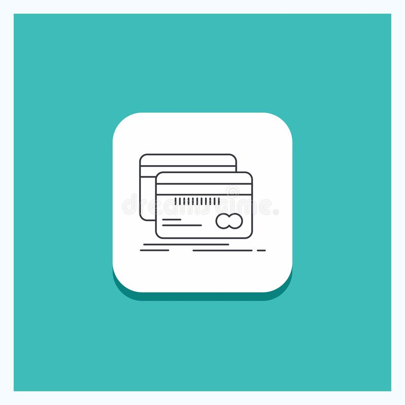Botão redondo para depositar, cartão, crédito, débito, linha fundo da finança de turquesa do ícone ilustração royalty free