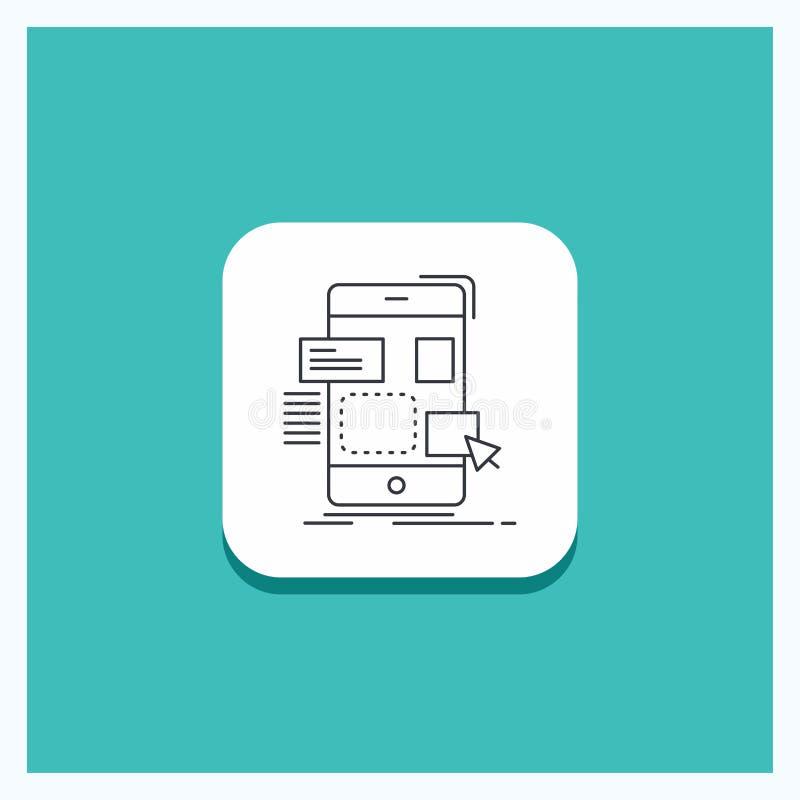 Botão redondo para o arrasto, móbil, projeto, ui, linha fundo do ux de turquesa do ícone ilustração royalty free