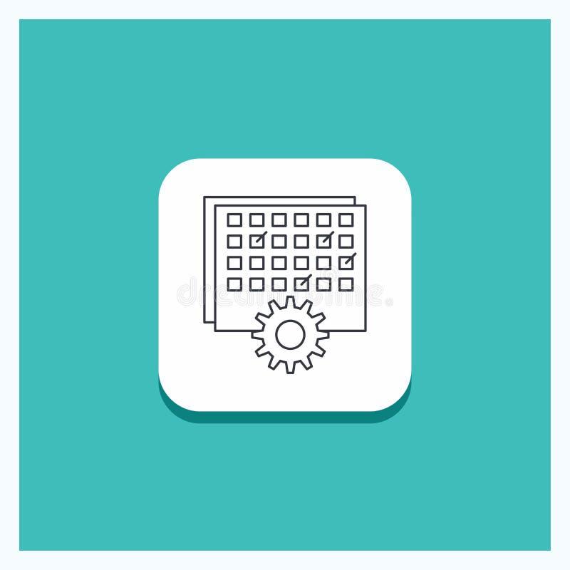 Botão redondo para o evento, gestão, processando, programação, linha de sincronismo fundo de turquesa do ícone ilustração stock
