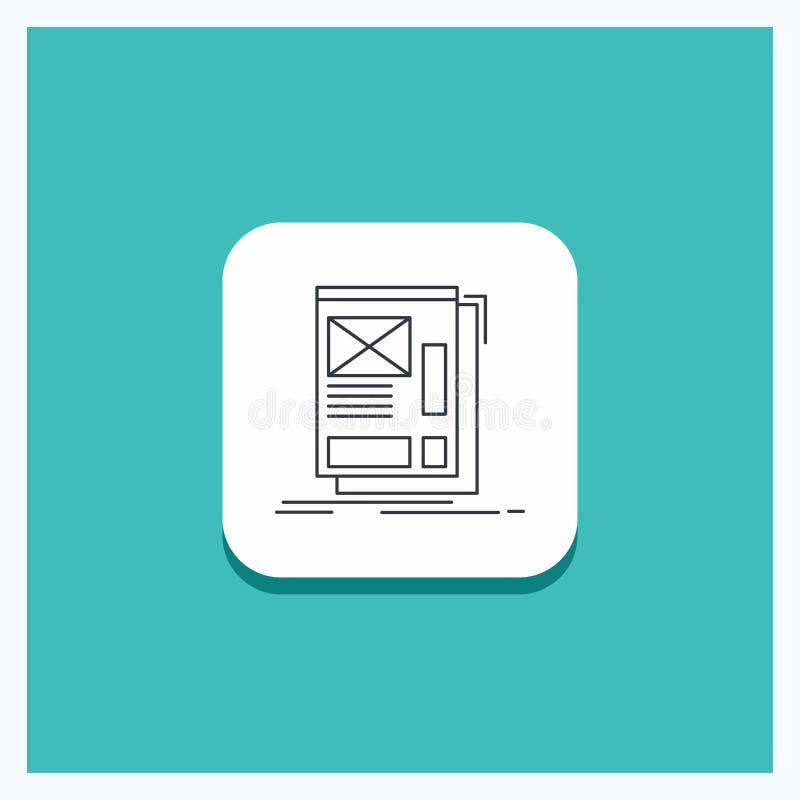 Botão redondo para o fio, quadro, Web, disposição, linha fundo do desenvolvimento de turquesa do ícone ilustração stock