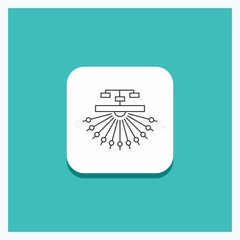 Botão redondo para a otimização, local, local, estrutura, linha fundo da Web de turquesa do ícone ilustração stock