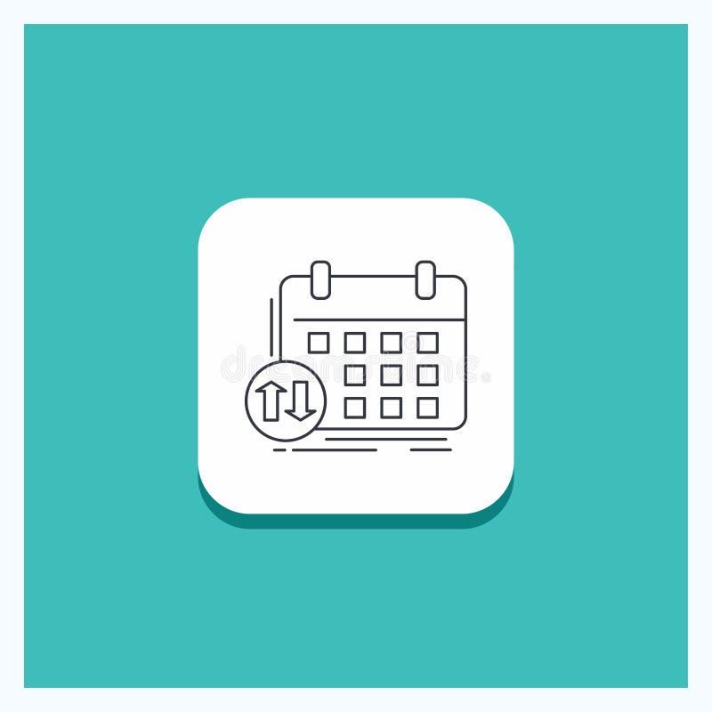 Botão redondo para a programação, classes, calendário, nomeação, linha fundo do evento de turquesa do ícone ilustração do vetor