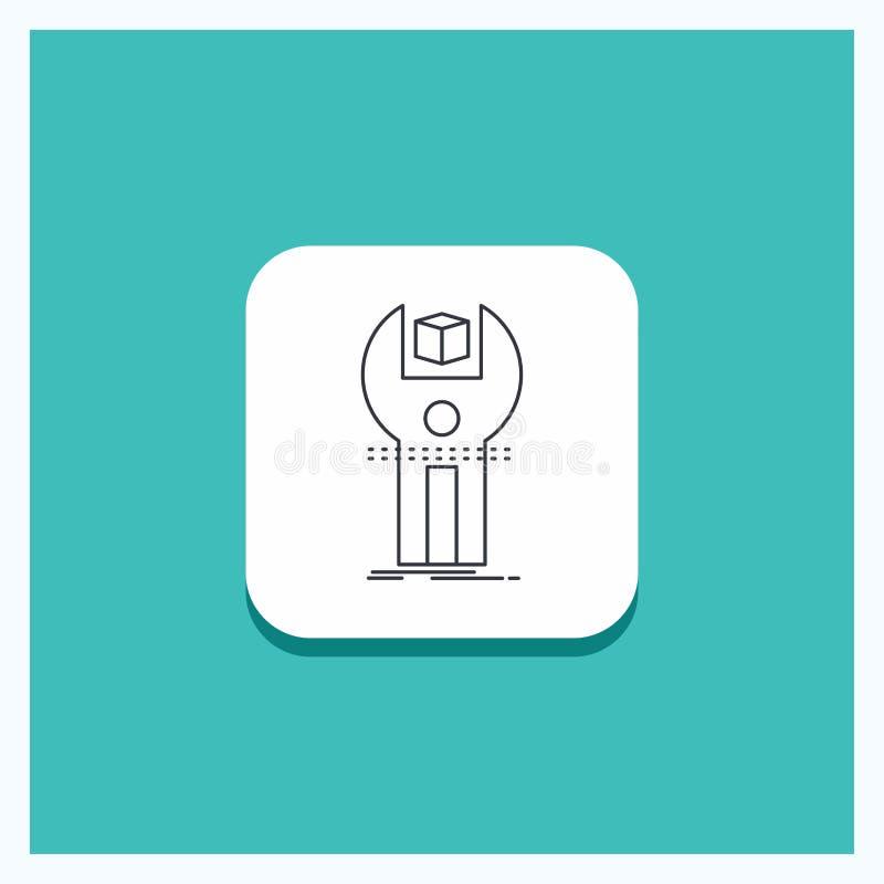 Botão redondo para SDK, App, desenvolvimento, jogo, linha de programação fundo de turquesa do ícone ilustração stock