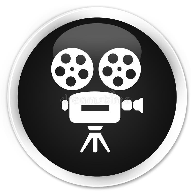 Botão redondo preto superior do ícone da câmara de vídeo ilustração royalty free