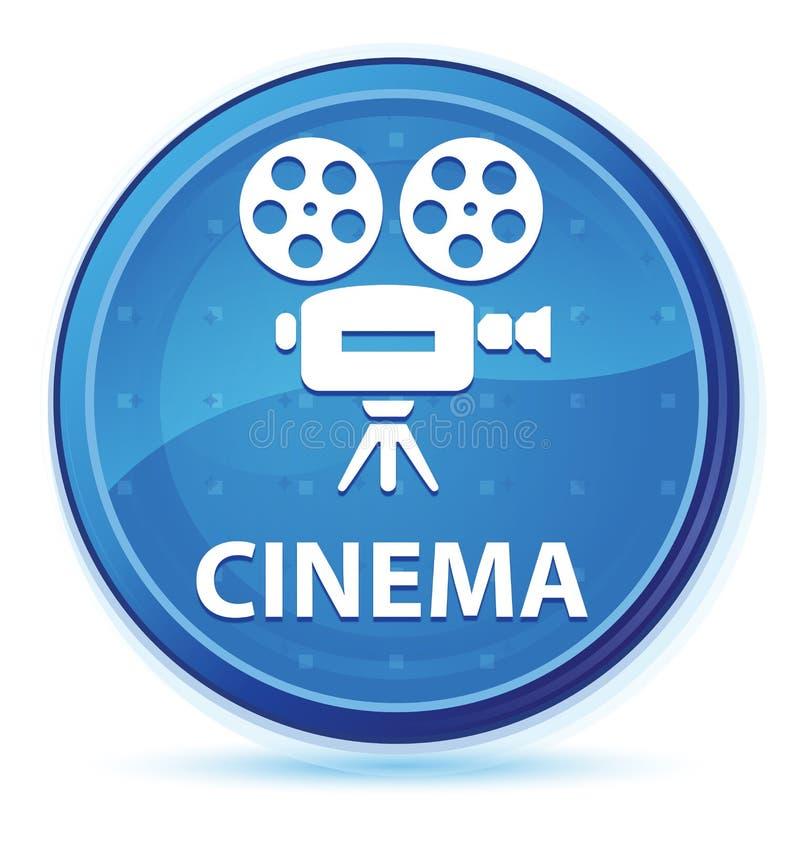 Botão redondo principal azul da meia-noite do cinema (ícone da câmara de vídeo) ilustração do vetor