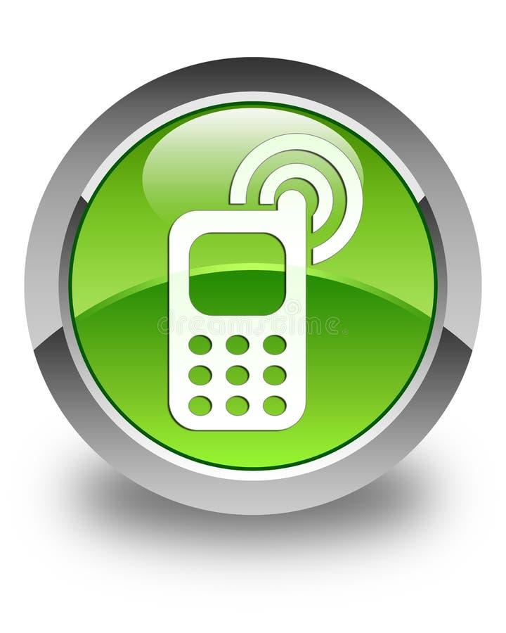 Botão redondo verde lustroso de soada do ícone do telefone celular ilustração do vetor