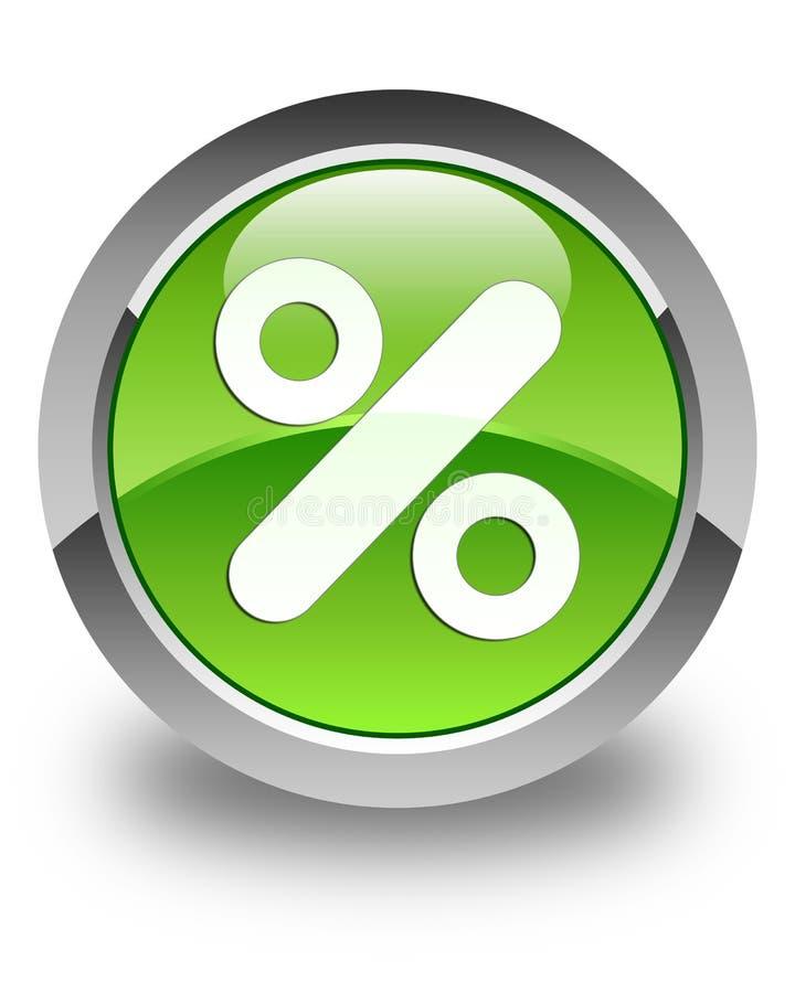 Botão redondo verde lustroso do ícone do disconto ilustração stock