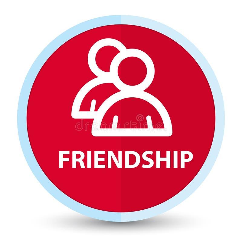 Botão redondo vermelho principal liso da amizade (ícone de grupo) ilustração do vetor