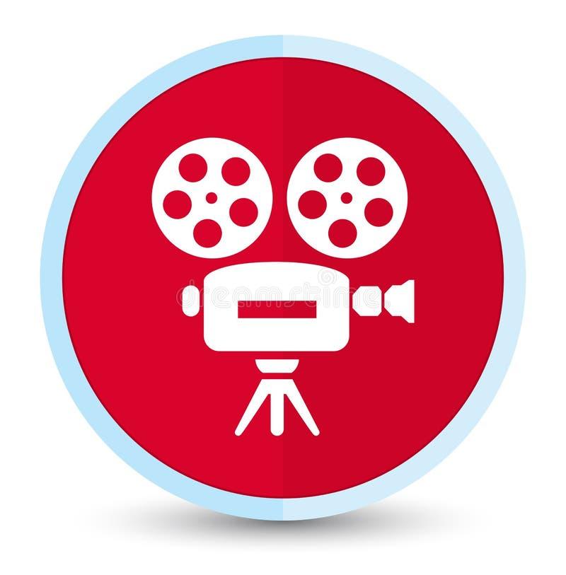 Botão redondo vermelho principal liso do ícone da câmara de vídeo ilustração do vetor