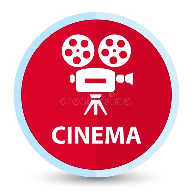 Botão redondo vermelho principal liso do cinema (ícone da câmara de vídeo) ilustração do vetor