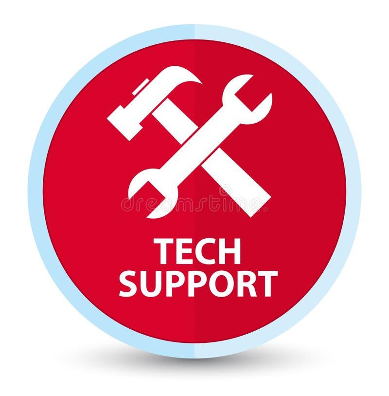 Botão redondo vermelho principal liso do suporte técnico (ícone das ferramentas) ilustração stock