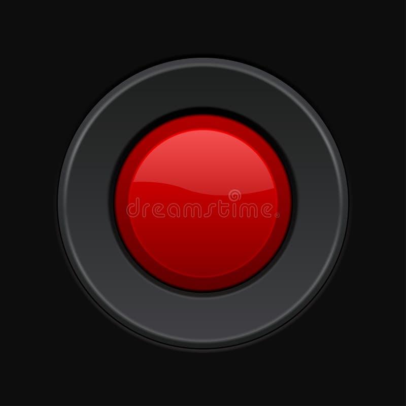 Botão redondo vermelho tecla 3d no fundo preto ilustração stock
