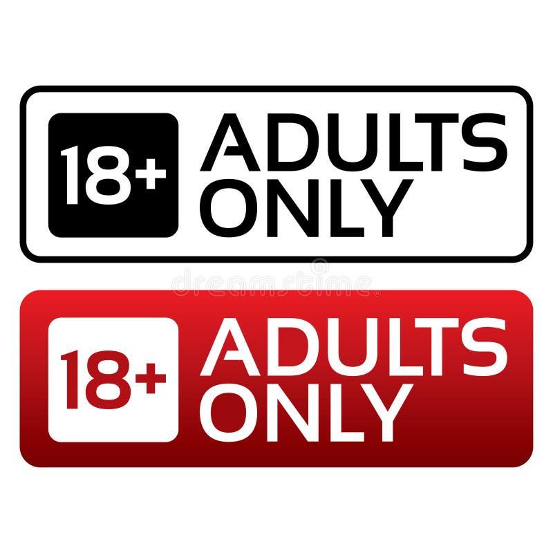 Botão satisfeito dos adultos somente. Selo do limite de idade. ilustração stock