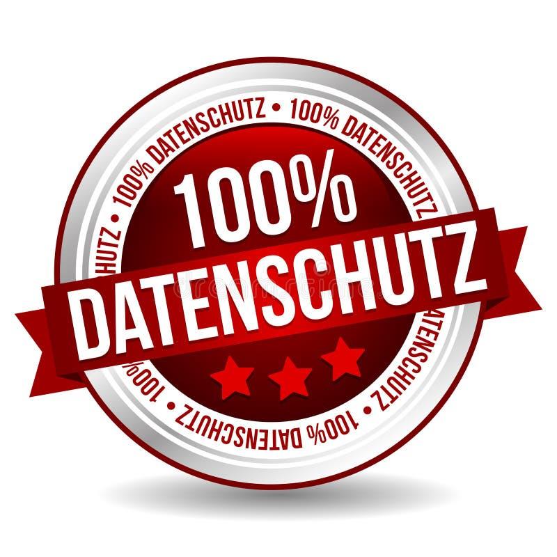 botão seguro da bandeira do crachá de 100% - Alemão-tradução: 100% Datenschutz ilustração royalty free