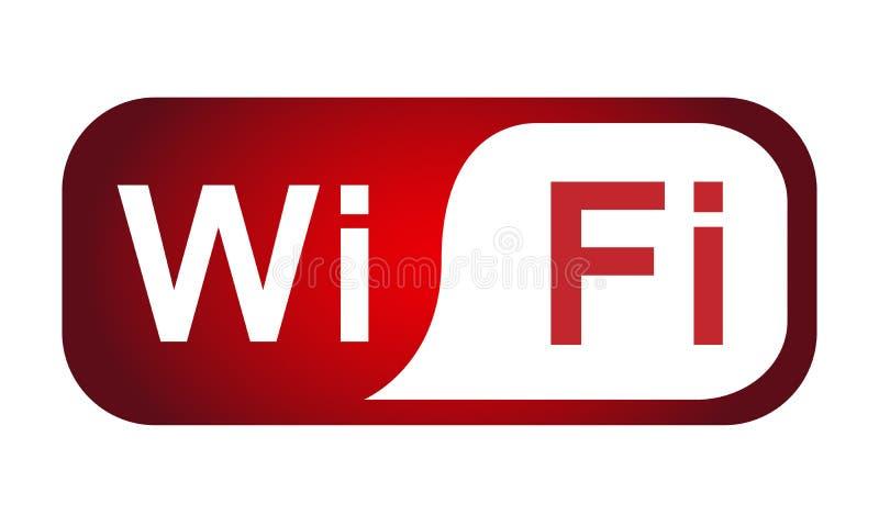 Botão sem fio do ícone da conexão 3d do símbolo do ícone de Wifi no elemento vermelho no fundo branco ilustração do vetor