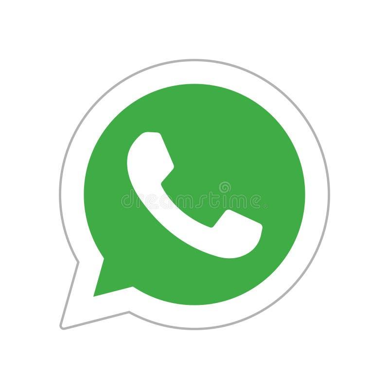 Botão social do ícone dos meios de Whatsapp ilustração do vetor