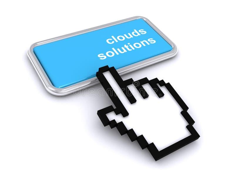 Botão Soluções em nuvem ilustração stock