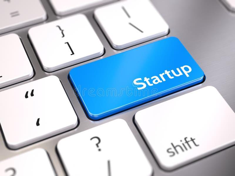 Botão startup azul no teclado - comece acima o conceito ilustração royalty free