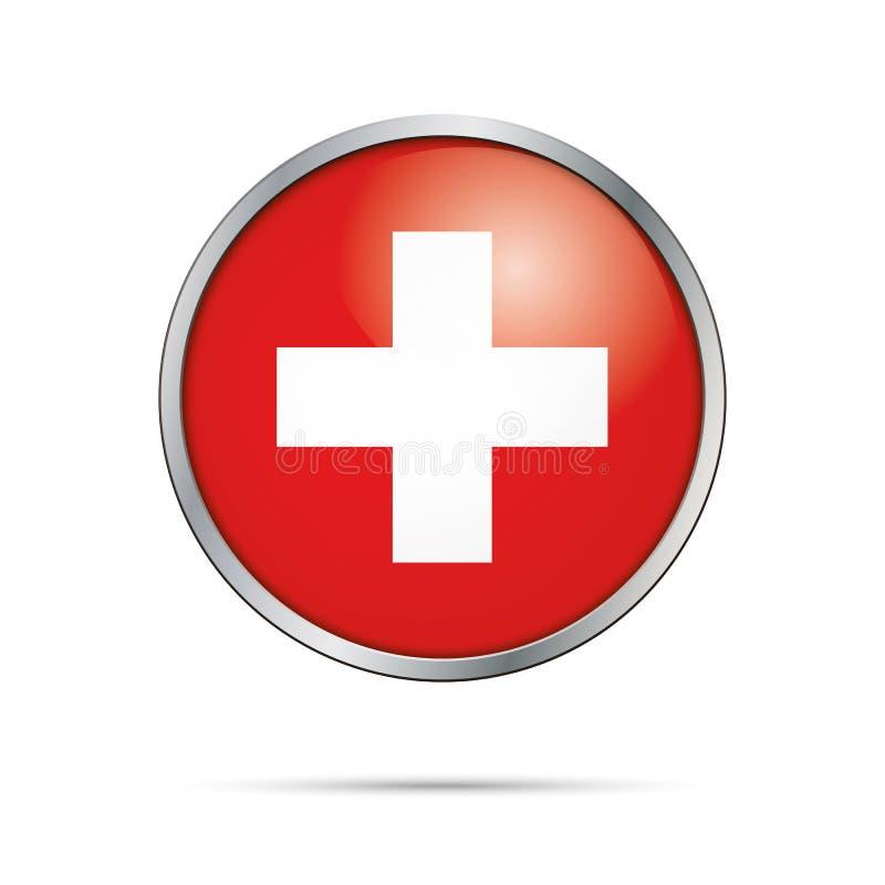 Botão suíço da bandeira do vetor Bandeira de Suíça no estilo de vidro do botão ilustração do vetor