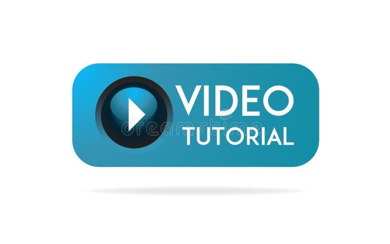 Botão tutorial video, ícone, emblema, etiqueta Educação em linha tutorial video Ilustração conservada em estoque do vetor ilustração do vetor