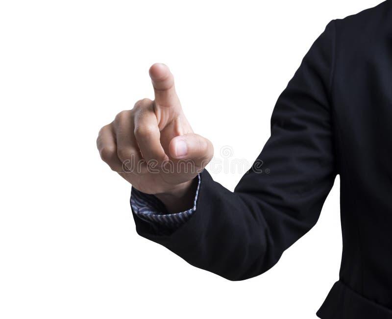 Botão vazio da pressão de mão do homem de negócios na tela virtual fotos de stock royalty free
