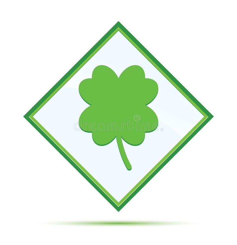 Botão verde abstrato moderno do diamante do ícone afortunado do trevo de quatro folhas ilustração stock