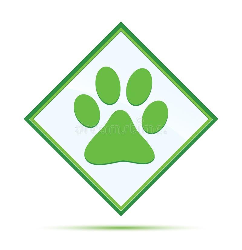 Botão verde abstrato moderno do diamante do ícone animal da cópia da pata ilustração do vetor