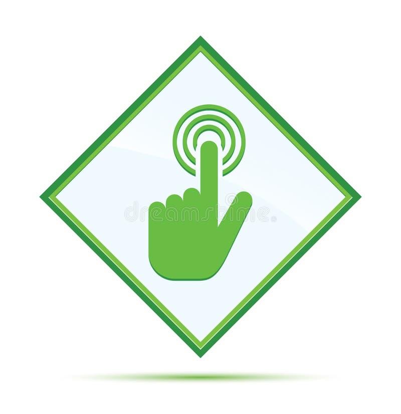 Botão verde abstrato moderno do diamante do ícone do clique do cursor da mão ilustração stock