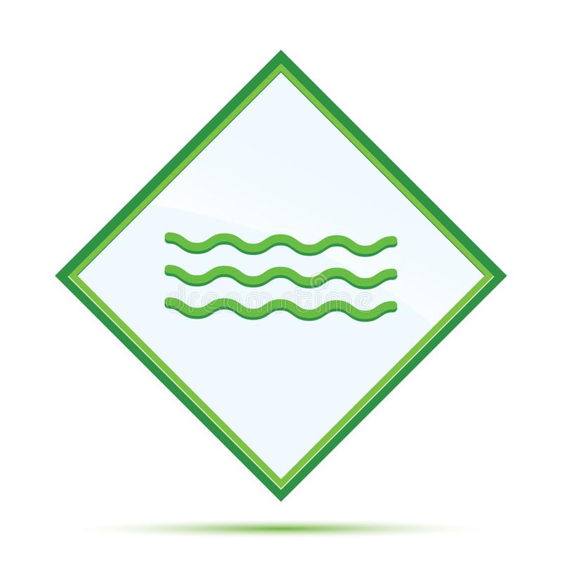 Botão verde abstrato moderno do diamante do ícone das ondas do mar ilustração royalty free