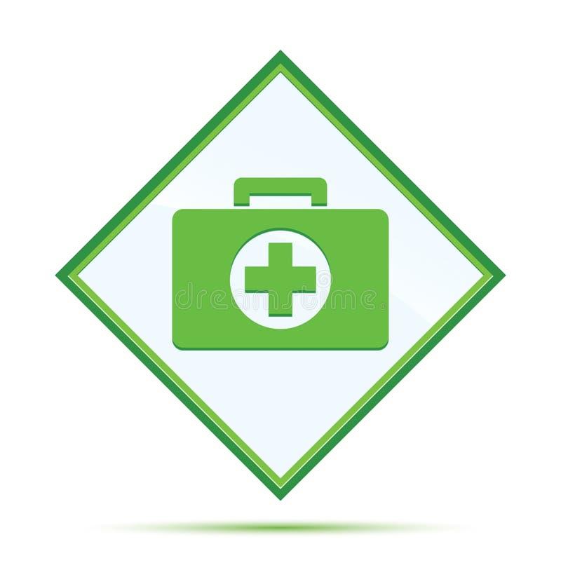 Botão verde abstrato moderno do diamante do ícone do kit de primeiros socorros ilustração do vetor