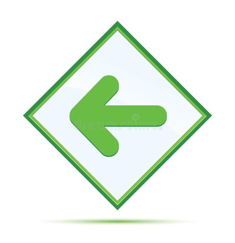Botão verde abstrato moderno do diamante do ícone traseiro da seta ilustração stock