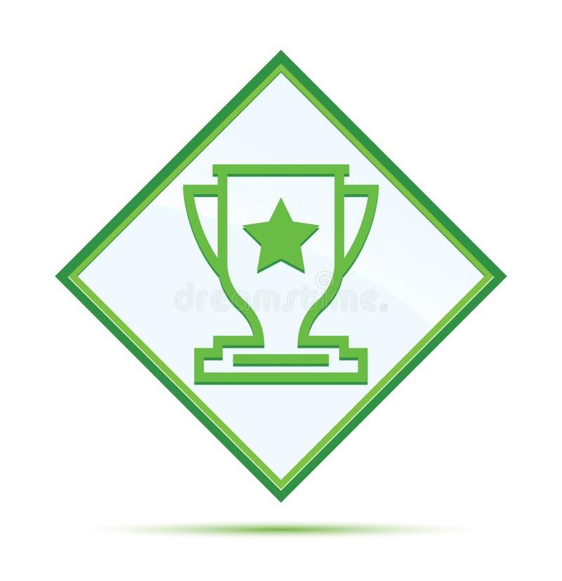 Botão verde abstrato moderno do diamante do ícone do troféu ilustração royalty free