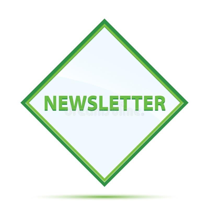 Botão verde abstrato moderno do diamante do boletim de notícias ilustração stock