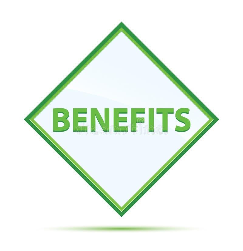 Botão verde abstrato moderno do diamante dos benefícios ilustração stock
